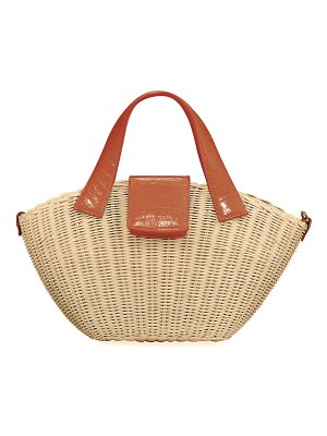 Nancy Gonzalez Wicker & Crocodile Small Tote Bag
