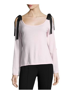 Nanette Lepore Beau Scoop-Neck Velvet Bow Sweater