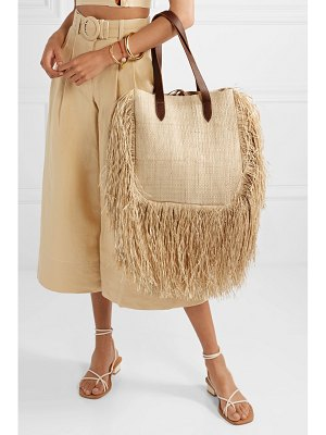 Nannacay net sustain aurora leather-trimmed fringed woven raffia tote