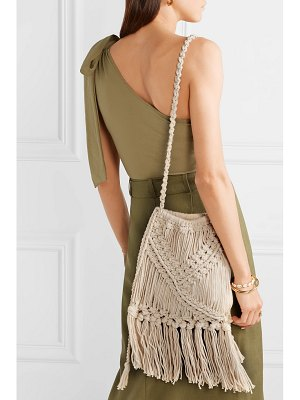 Nannacay net sustain lucy fringed crocheted cotton shoulder bag