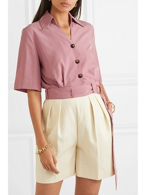 NANUSHKA cayne cropped belted tencel-blend shirt