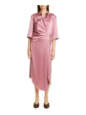 NANUSHKA lais satin midi wrap dress