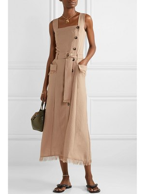 NANUSHKA moun belted frayed woven midi dress