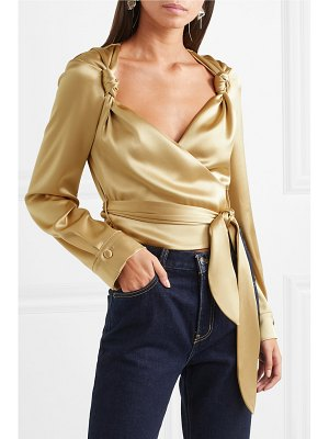 NANUSHKA selena satin wrap top