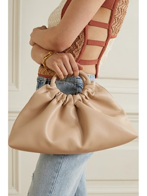 NANUSHKA trapeze ruched vegan leather tote