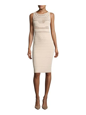 Narciso Rodriguez Round-Neck Sleeveless Fitted Open-Weave Knit Dress