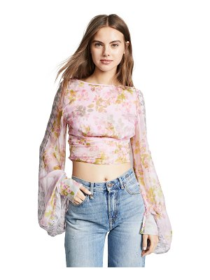 NATASHA ZINKO balloon sleeve floral crop top
