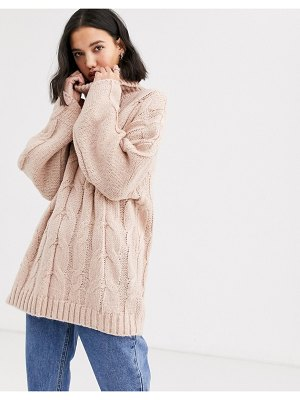 Native Youth high neck sweater in chunky cable knit-pink