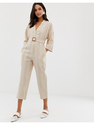 Native Youth relaxed jumpsuit in linen stripe with buckle-beige