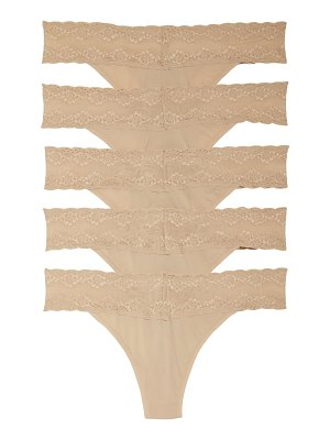 Natori 5-pack bliss perfection lace trim thong