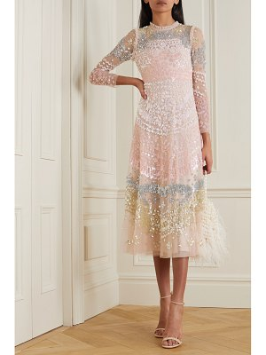 Needle & Thread angeline sequin ruffled embellished tulle midi dress