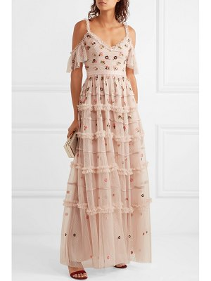 Needle & Thread celeste cold-shoulder embroidered point d'esprit tulle gown