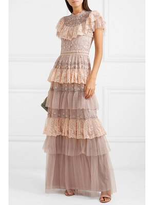 Needle & Thread cinderella tiered embellished tulle and lace gown