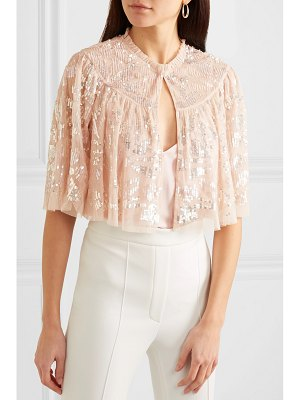 Needle & Thread cropped sequined tulle jacket