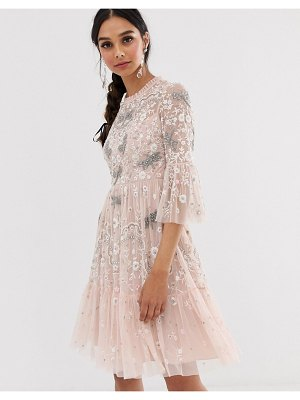 Needle & Thread dragonfly midi dress in rose pink