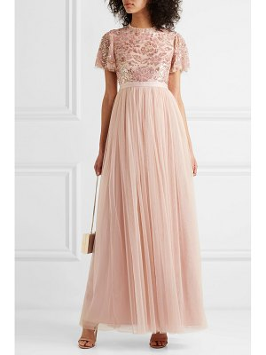 Needle & Thread dream rose open-back sequin-embellished tulle gown