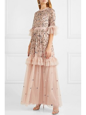 Needle & Thread dusk ruffled point d'esprit and embroidered tulle gown