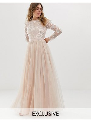 Needle & Thread embellished long sleeve maxi dress with tulle skirt in rose quartz-pink