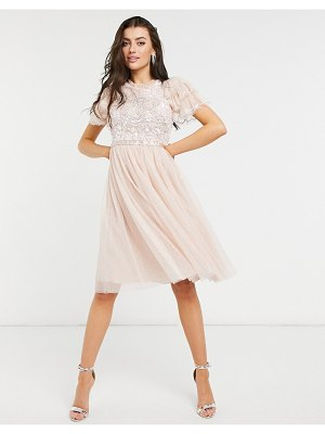 Needle & Thread embellished ruffle sleeve midi dress in blush-pink