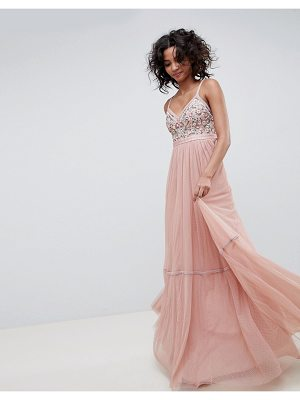 Needle & Thread embellished tulle maxi dress with cami straps in vintage rose