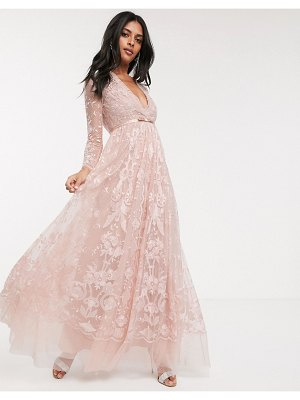 Needle & Thread embroidered floral lace maxi dress in dusty pink