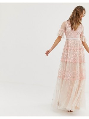 Needle & Thread embroidered maxi dress with flutter sleeve in rose-pink