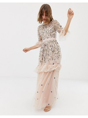 Needle & Thread embroidered tulle gown in rose