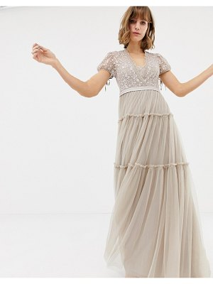 Needle & Thread embroidered tulle maxi dress with cap sleeve in rose-pink