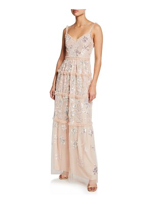 Needle & Thread Floral Gloss Sequined Tulle V-Neck Gown