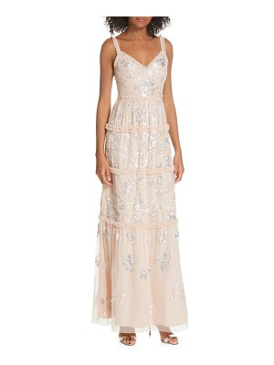 Needle & Thread floral gloss sleeveless evening dress