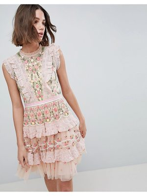 Needle & Thread High Neck Layered Mini Dress With Embroidery