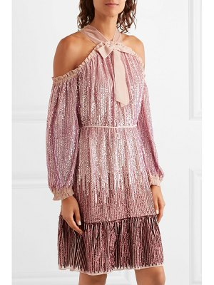 Needle & Thread kaleidoscope cold-shoulder sequined chiffon dress