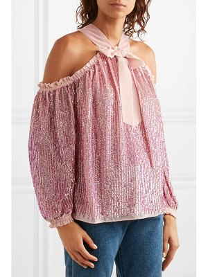 Needle & Thread kaleidoscope cold-shoulder velvet-trimmed sequined chiffon top