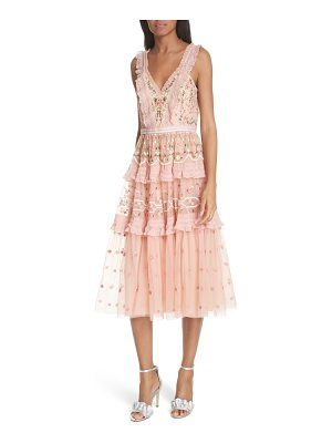 Needle & Thread lattice rose tiered midi dress