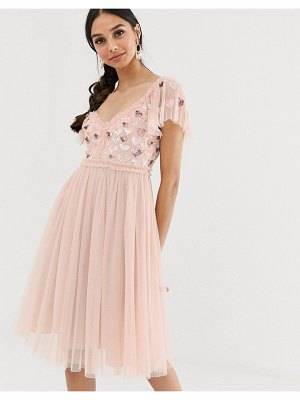 Needle & Thread love heart midi dress in rose pink