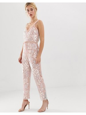 Needle & Thread needle and thread floral embellished jumpsuit with tie waist in rose quartz-pink