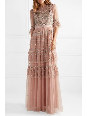 Needle & Thread paradise tiered embroidered tulle gown