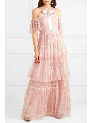 Needle & Thread primrose cold-shoulder tiered embroidered tulle gown