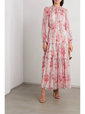 Needle & Thread ruby bloom ruffled floral-print fil coupé chiffon gown