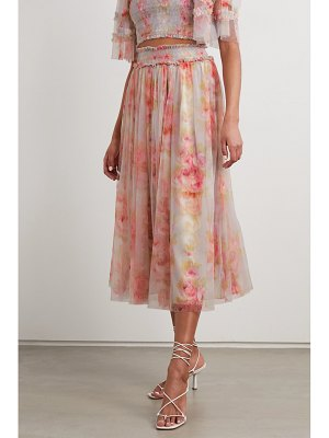 Needle & Thread ruby bloom smocked ruffled floral-print tulle midi skirt