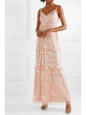 Needle & Thread ruffled sequined tulle gown