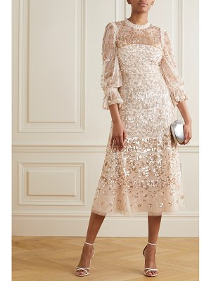 Needle & Thread ruffled sequined tulle midi dress