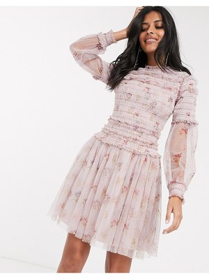 Needle & Thread sequin mini dress with sheer sleeves in dusty mauve