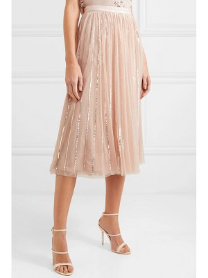 Needle & Thread sequin-embellished tulle midi skirt