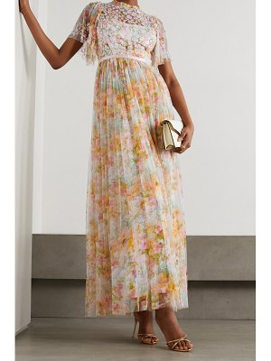 Needle & Thread sunset sequin-embellished floral-print tulle gown