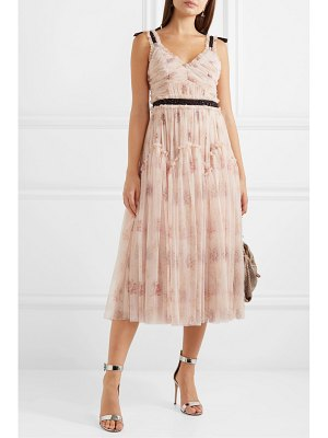 Needle & Thread think of me embellished satin-trimmed floral-print tulle midi dress