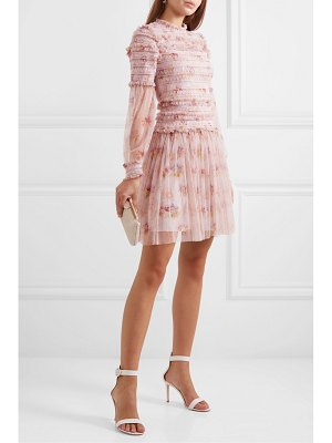 Needle & Thread think of me sequined shirred floral-print tulle mini dress