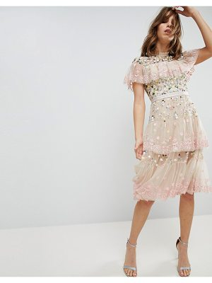 Needle & Thread Tiered Midi Dress with Embroidery and Lace Detail