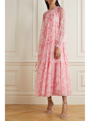 Needle & Thread toile de jouy tiered ruffled floral-print tulle maxi dress