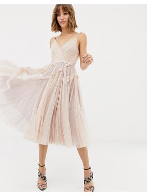 Needle & Thread tulle cami skater dress in rose-pink